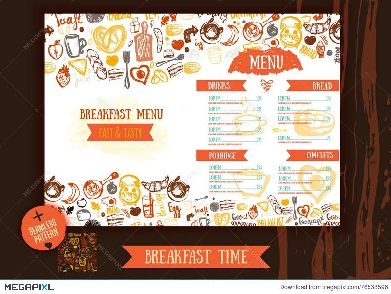 Breakfast Menu Design Template Modern Hand-Drawn Sketch With - menu design template