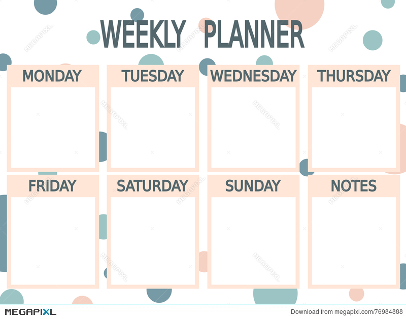 Cute Blue Pink Printable Weekly Planner With Circles Illustration