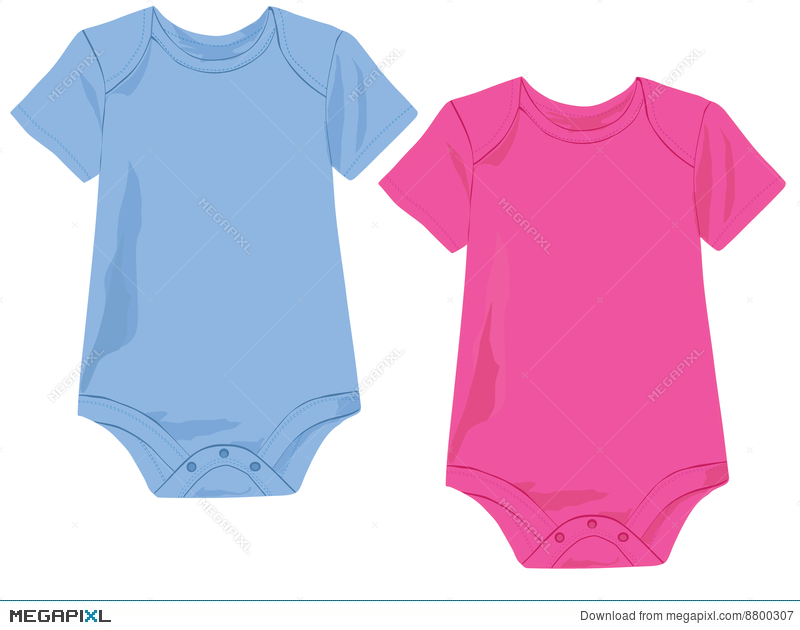 Baby Onesie Template In Pink And Blue Illustration 8800307 - Megapixl