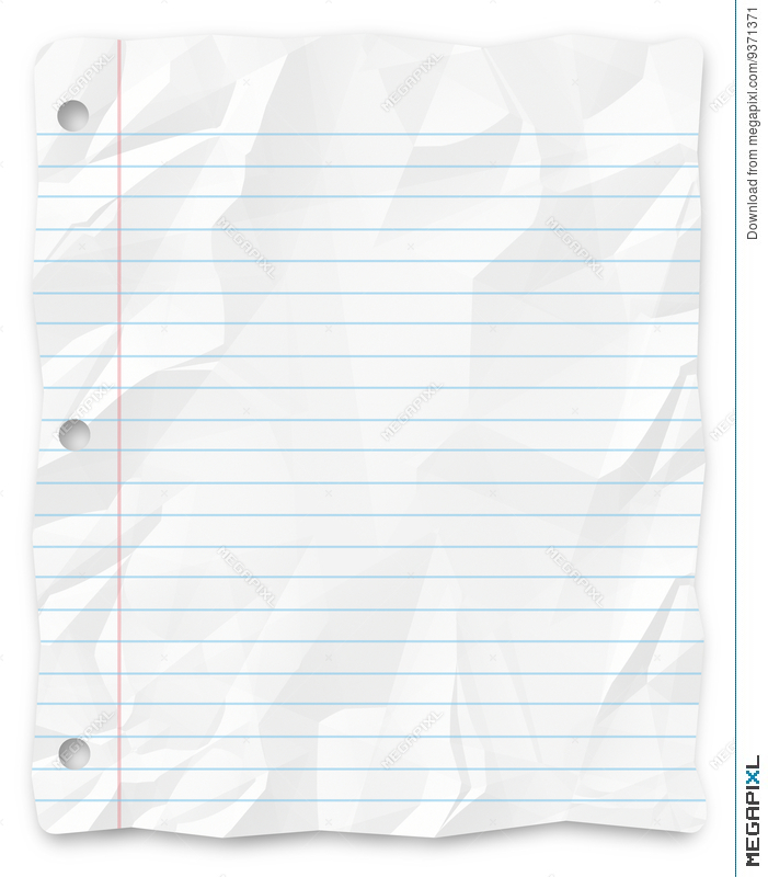 Student Writing Paper Lined Three-Hole Punched Stock Photo 9371371