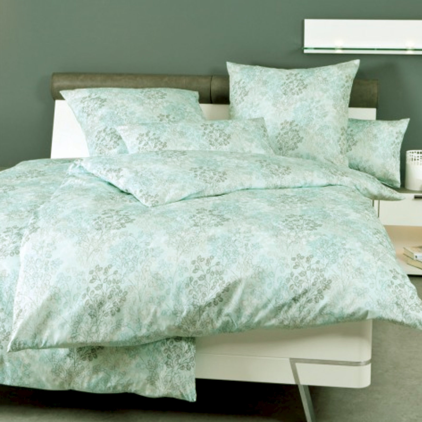 Janine Mako Satin Bed Cover Messina 4866 Pastel Turquoise Graphite Ebay