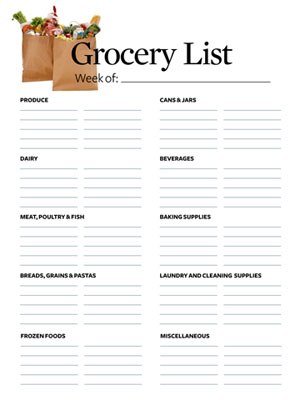 Grocery List Makes Shopping Easier - printable shopping list