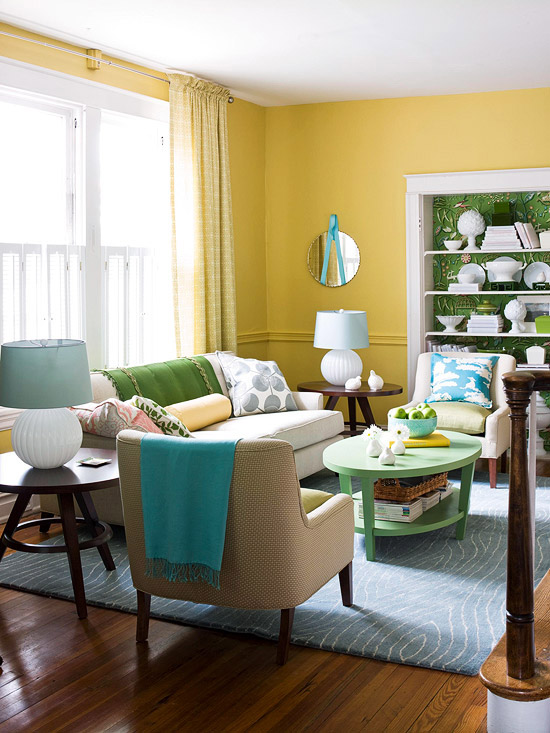 Decorating Ideas for a Yellow Living Room -- Better Homes and - decorating tips for living room