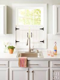 DIY Farmhouse Kitchen Window Shutters
