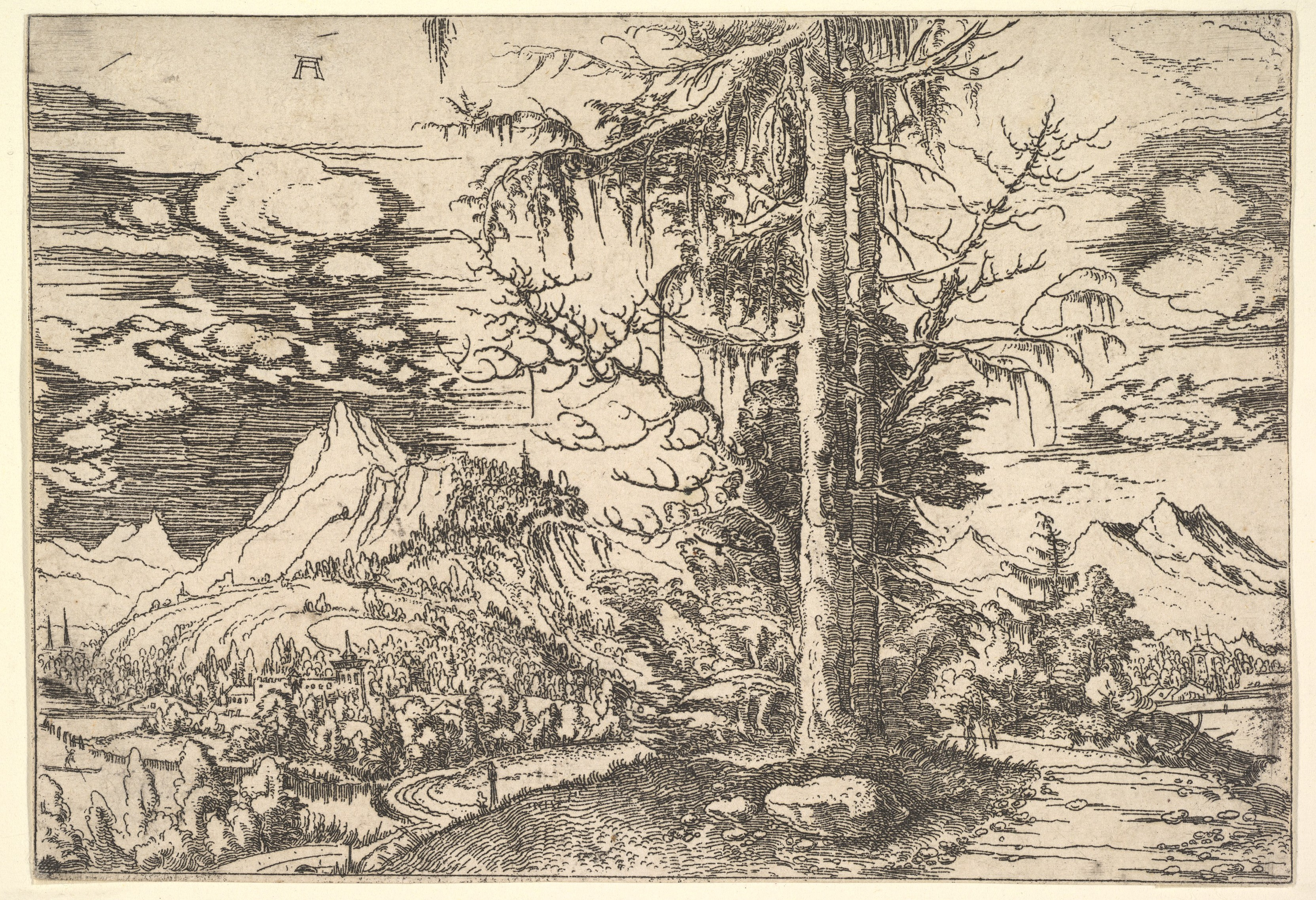Metal Photo Prints Australia Albrecht Altdorfer Landscape With A Double Spruce In The