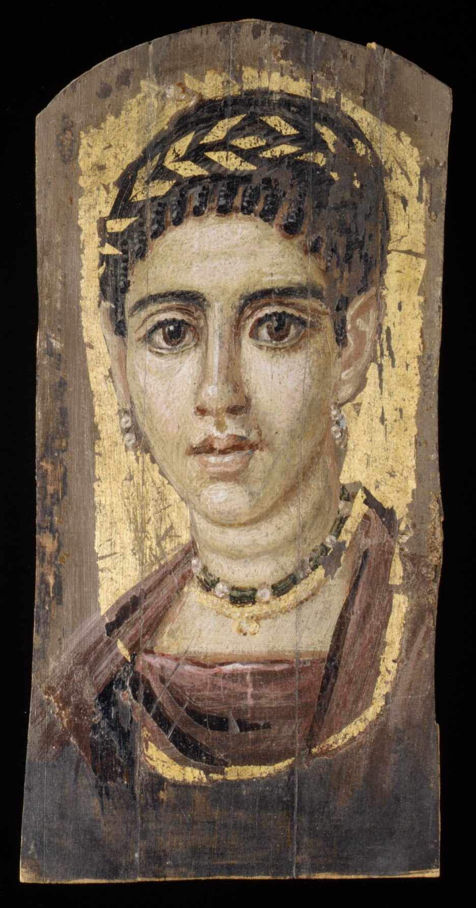 Pittura Romana Fayum Portrait Of A Young Woman With A Gilded Wreath Roman Period