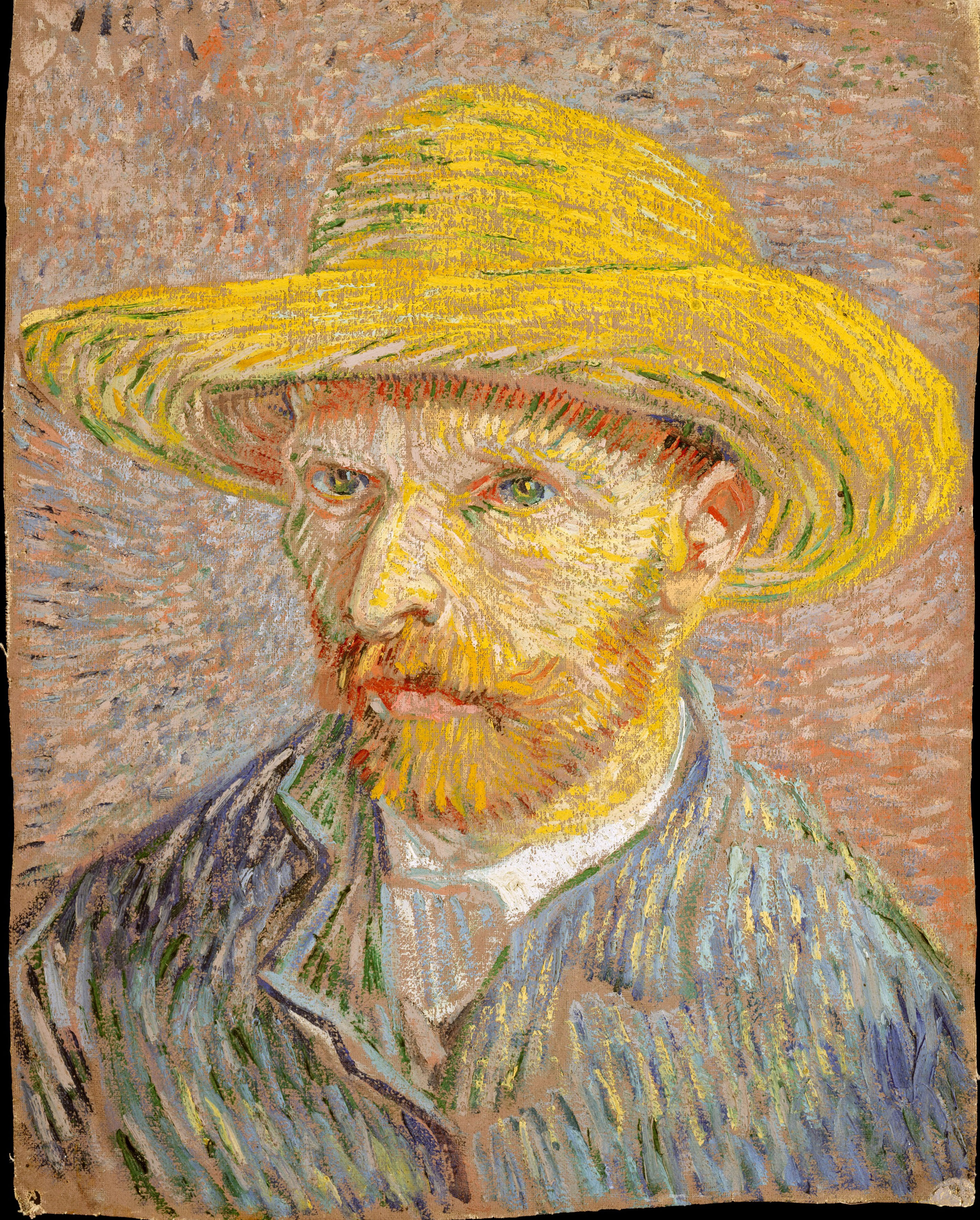 Vang Gogh Cuadros Vincent Van Gogh Self Portrait With A Straw Hat Obverse The