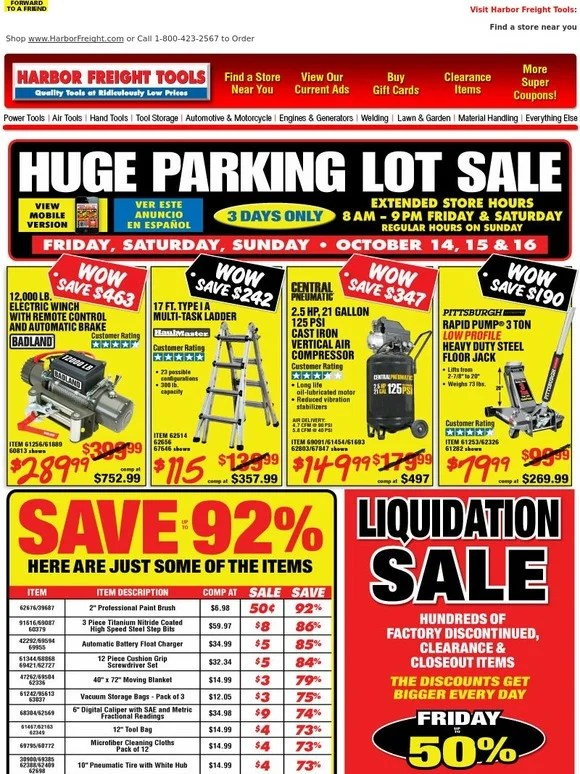 Garage Coupons Store Harbor Freight: Important Announcement: Huge Parking Lot