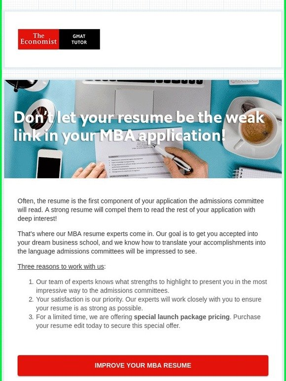 Economist GMAT Tutor Don\u0027t let your resume be the weak link in your