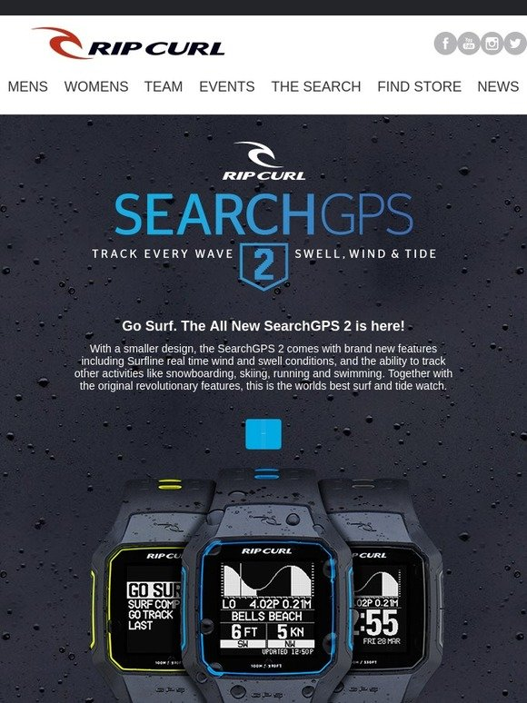 Rip Curl Australia Go Surf The All New SearchGPS 2 Surf Watch is