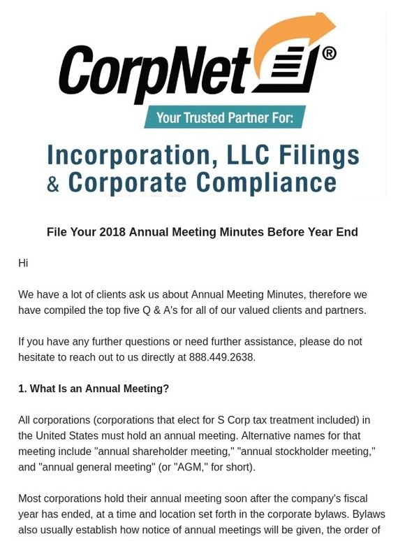 CorpNet, Incorporated File Your 2018 Annual Meeting Minutes Before