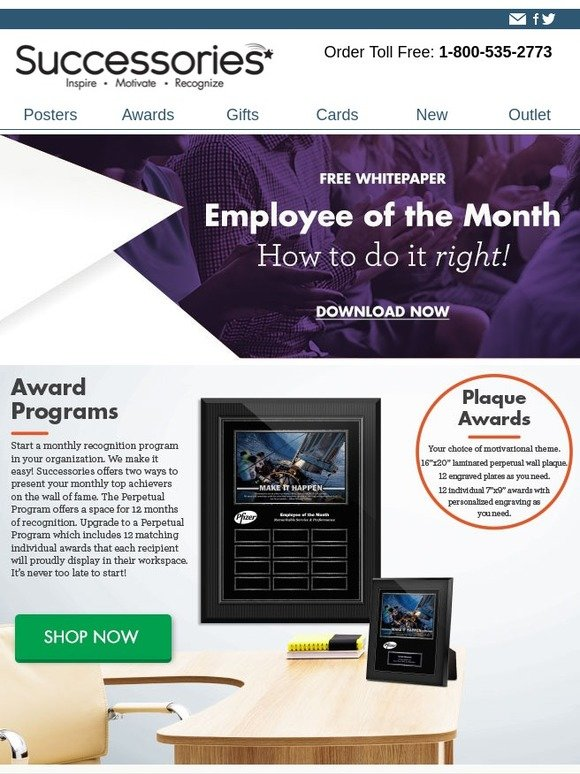 Successories NEWLETTER How to do Employee of the Month right! Milled