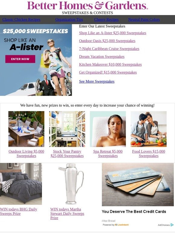 Better Homes and Gardens Enter to WIN $25,000 to shop like an A