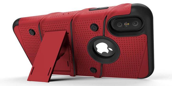 Zizo Bolt Iphone X Tough Case Screen Protector Red Black