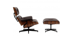 Eames Style Lounge Chair And Ottoman Black Leather Oak