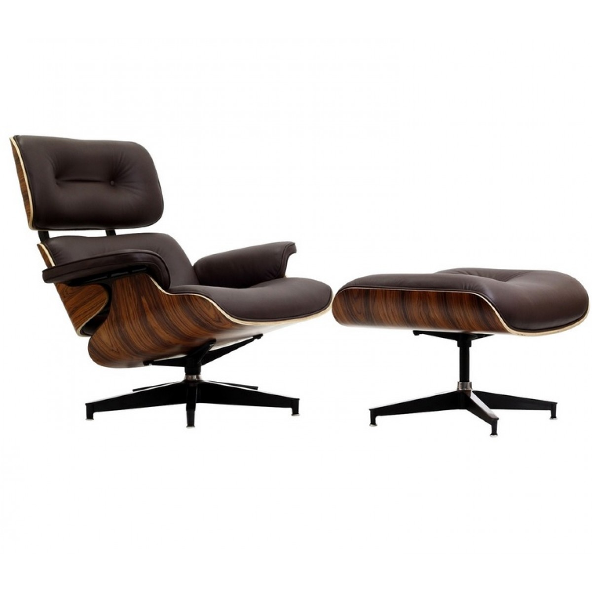 Eames Inspired Lounge Chairs Eames Style Lounge Chair And Ottoman Brown Leather Walnut Wood