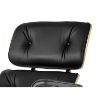 Eames Style Lounge Chair and Ottoman Black Leather Oak PlyWood