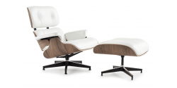 Eames Style Lounge Chair And Ottoman White Leather White