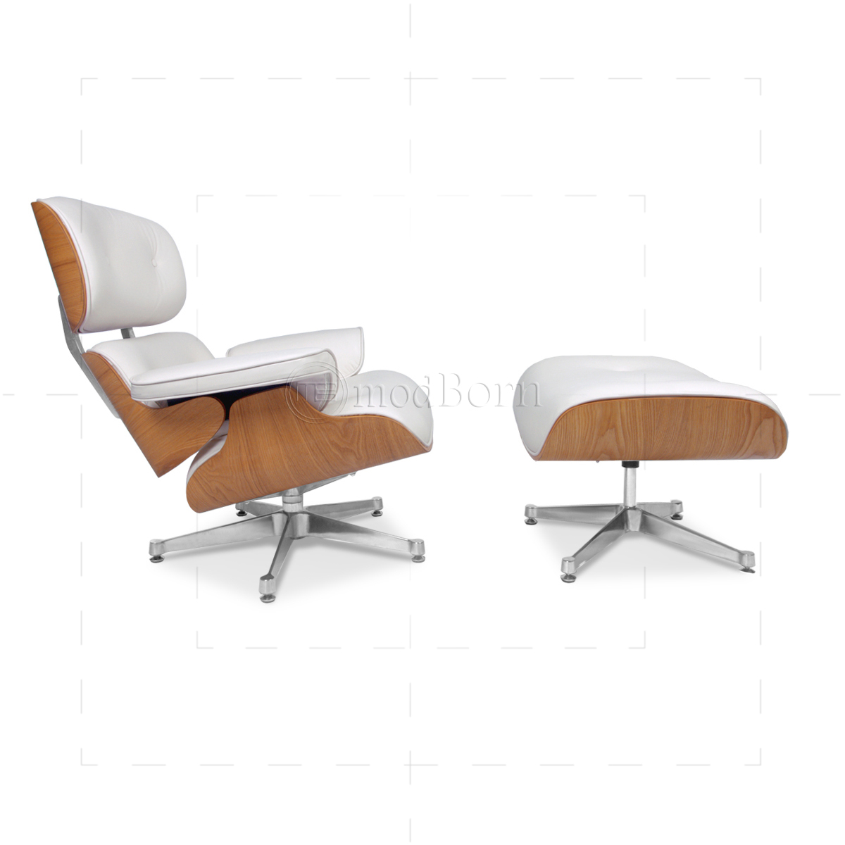 Eames Inspired Lounge Chairs Eames Style Lounge Chair And Ottoman White Leather Ash