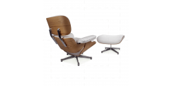Eames Style Lounge Chair And Ottoman Brown Leather Walnut