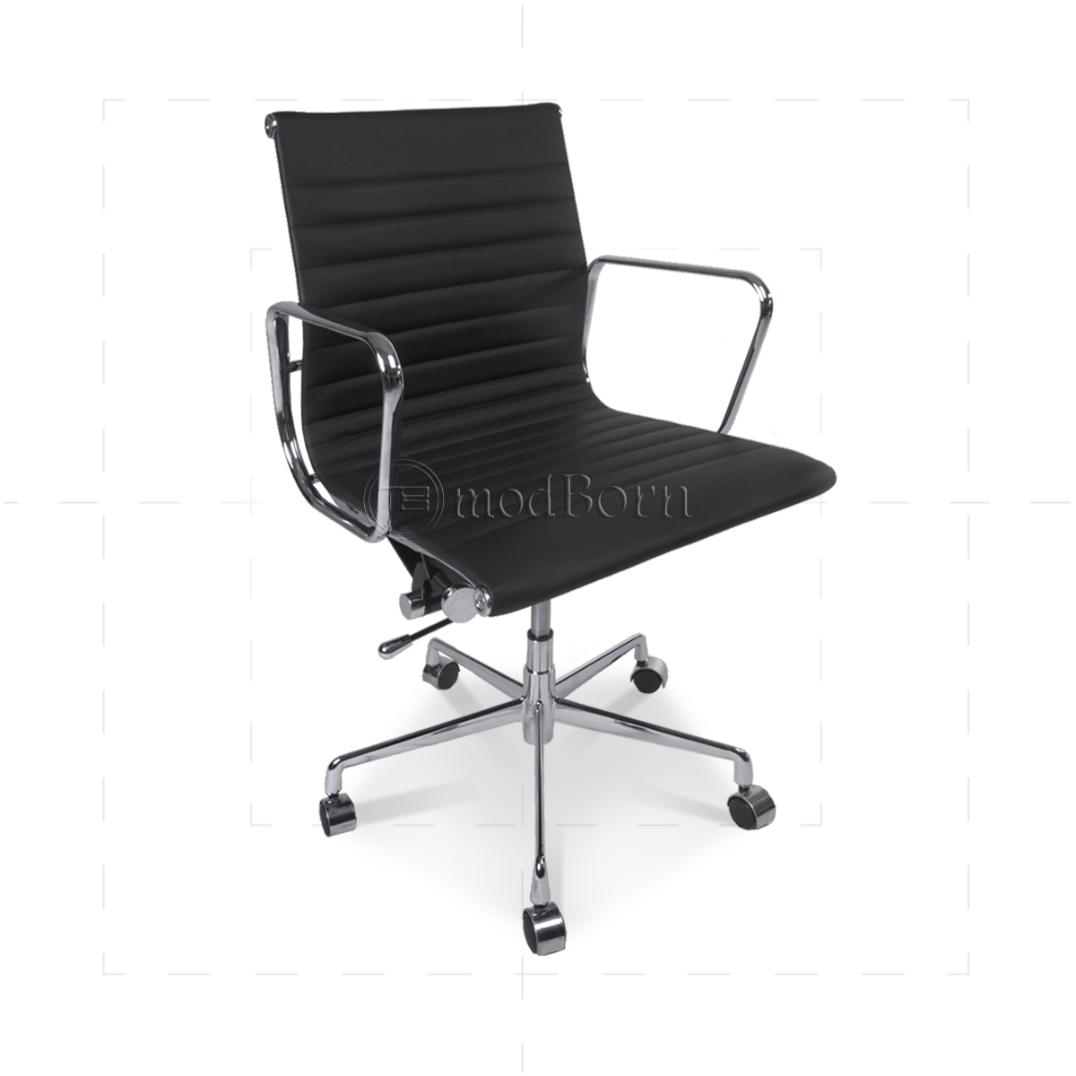 Office Chair Styles Ea117 Eames Style Office Chair Low Back Ribbed Black Leather