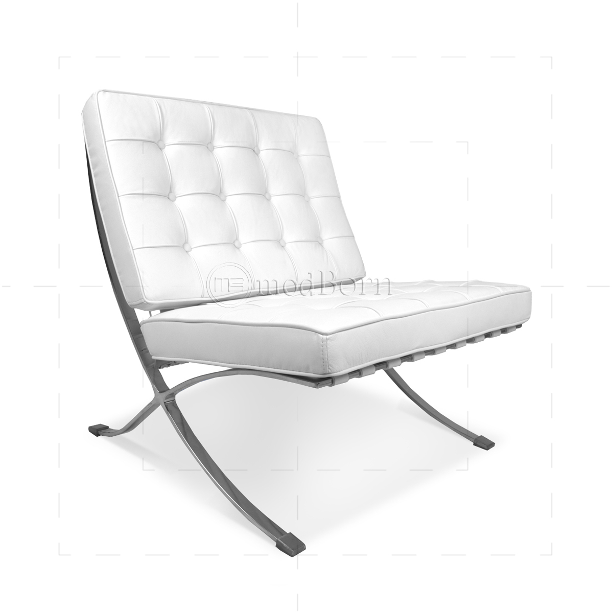 Mid Century Lounge Sessel Ludwig Mies Van Der Rohe Barcelona Style Chair White