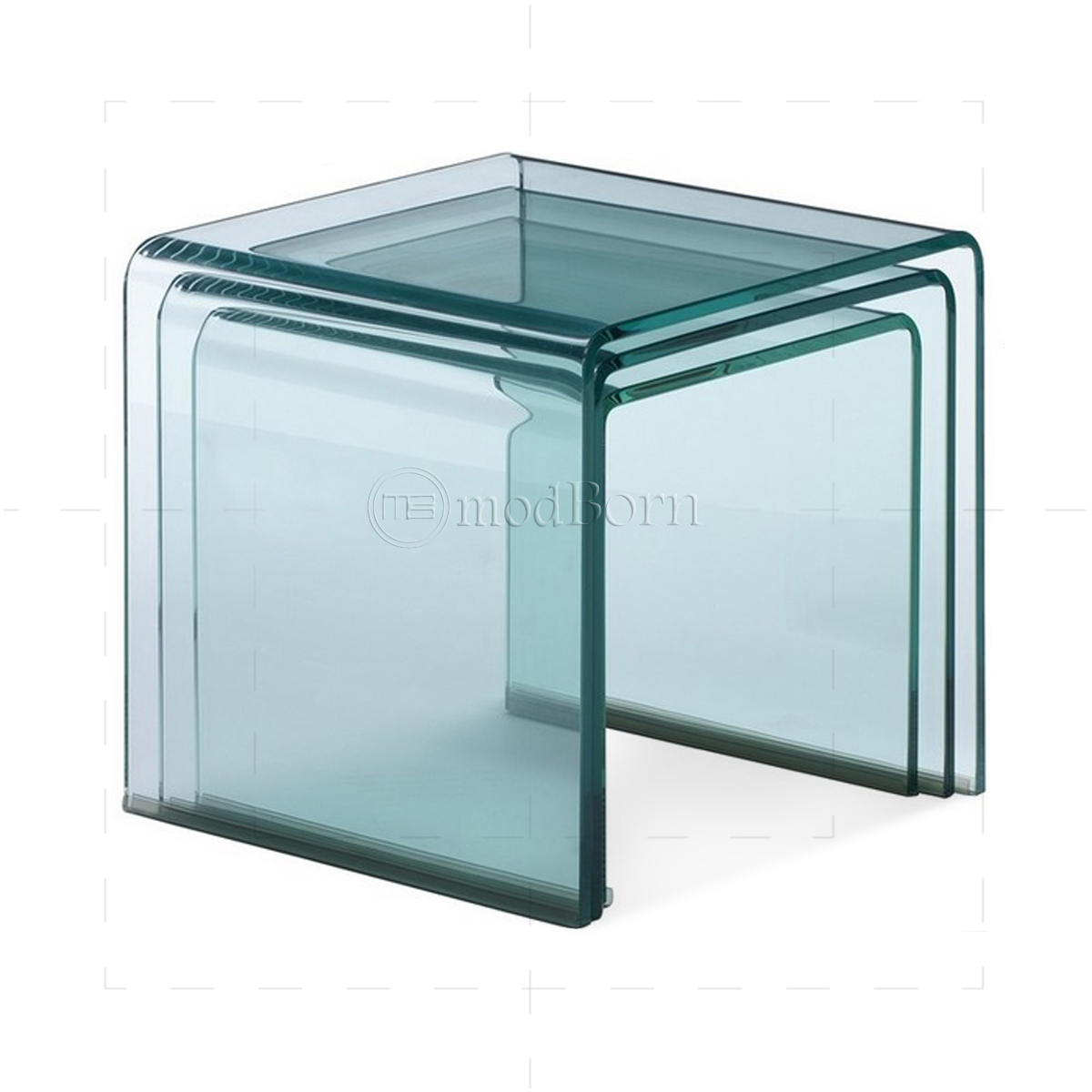 Glass Nest Coffee Tables Toughened Glass Nest Of 3 Coffee Side Tables Clear