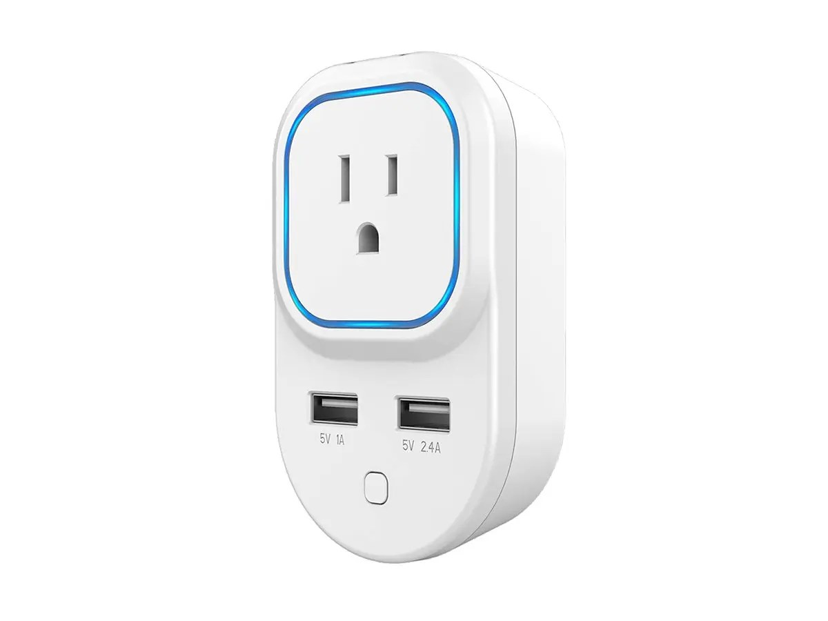 Product Smart Monoprice Z Wave Plus Smart Plug And Repeater With 2 Usb Ports