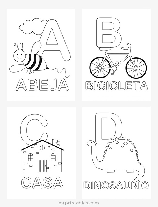 Spanish Alphabet Coloring Pages - Mr Printables - alphabet in spanish