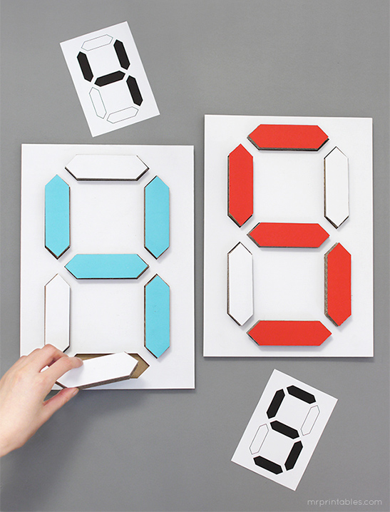 Digital Number Puzzle - Mr Printables - number template