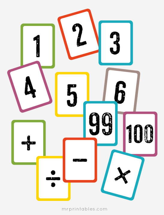 Free Printable Math Flash Cards - Mr Printables