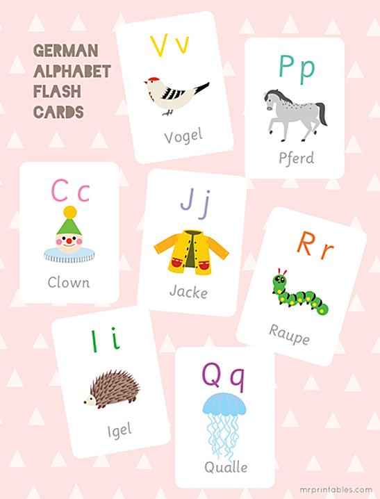 German Alphabet Flash Cards - Mr Printables