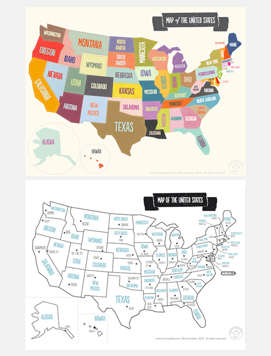 Printable Map of The USA - Mr Printables - fillable us map