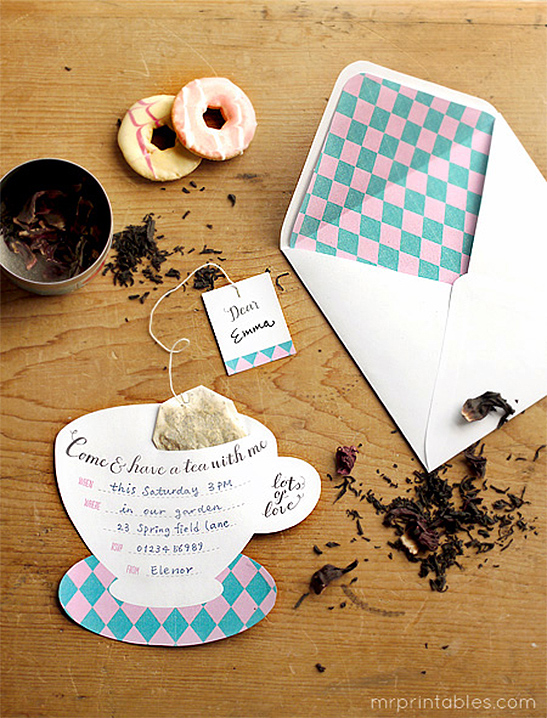 Printable Tea Party Invitations - Mr Printables - tea party invitation
