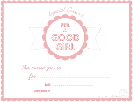 Awards For Good Behavior - Mr Printables