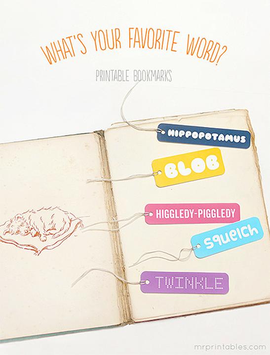 My Favorite Words Bookmarks - Mr Printables