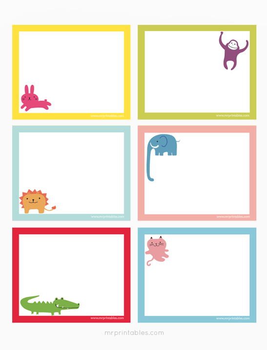 Animals Printable Note Cards - Mr Printables