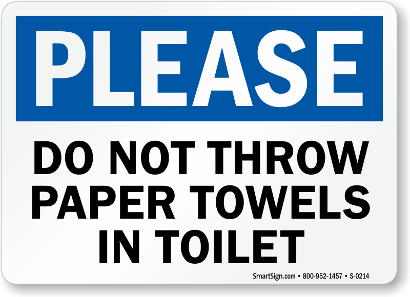 No paper towels in toilet sign free pdf sku s 0214