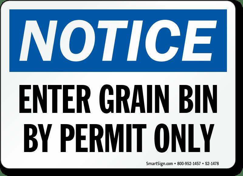 Grain Silo Safety Signs Engulfment Hazard Signs