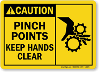 Pinch Points Keep Hands Clear Caution Sign Graphic