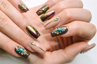 Nail Design With Rhinestones and Metallic Pigments - Style ...