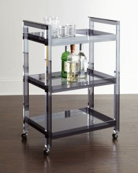 Interlude Home Cleo Noire Acrylic Bar Cart | Neiman Marcus
