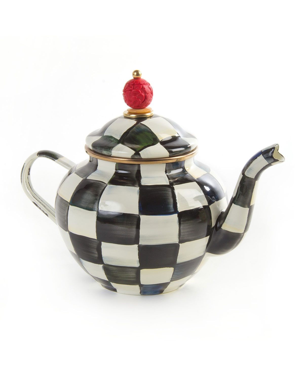 Teapot With Cup Courtly Check 4 Cup Enamel Teapot