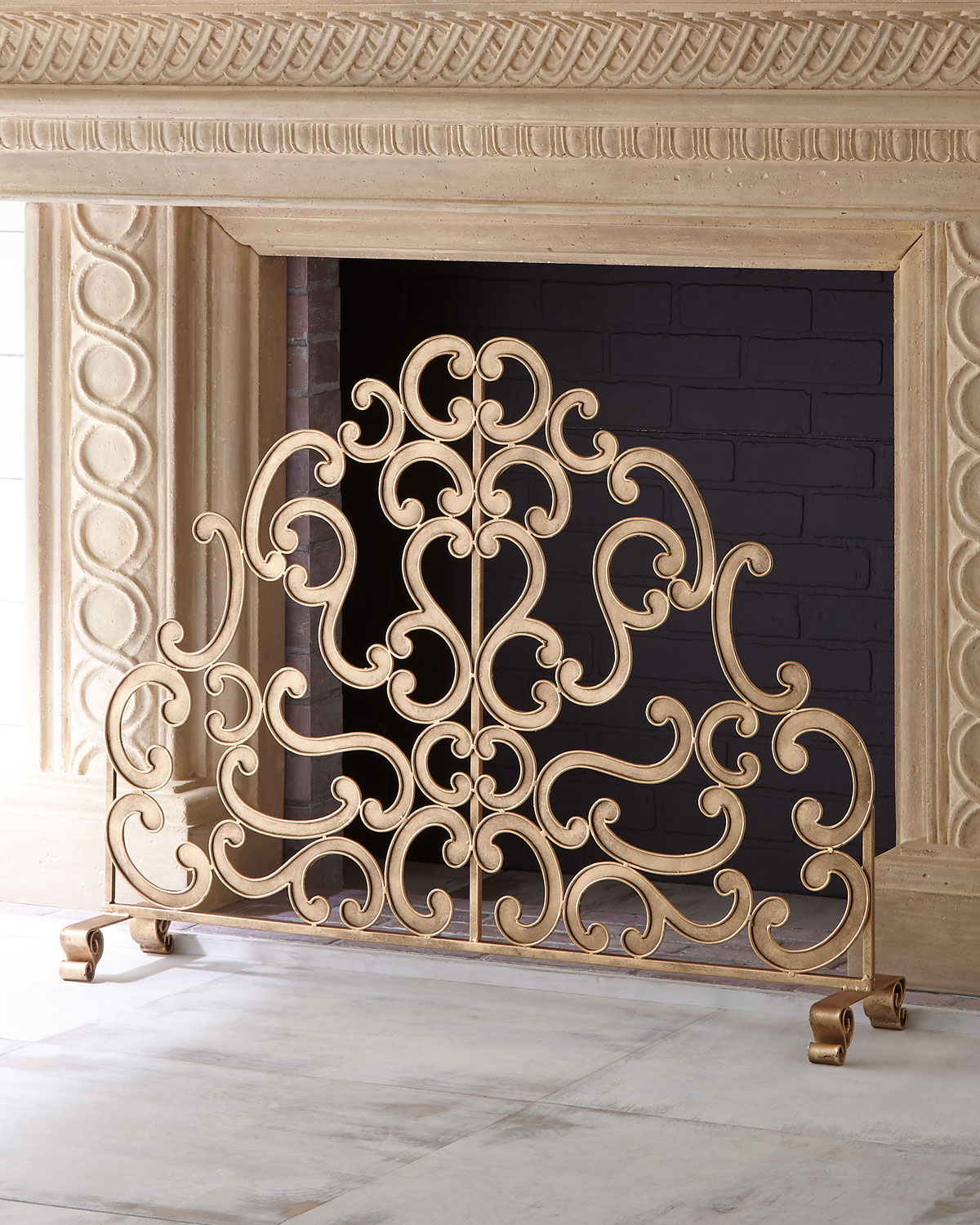 Brass Fireplace Screen Antiqued Gold Iron And Told Double Scroll Single Panel Fireplace Screen