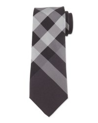 Burberry Beat-Check Silk Tie, Charcoal | Neiman Marcus