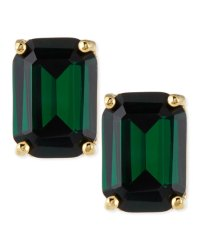 kate spade new york emerald-cut crystal earrings, green ...