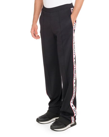 Givenchy Track Pants with Logo Taping, Black Neiman Marcus