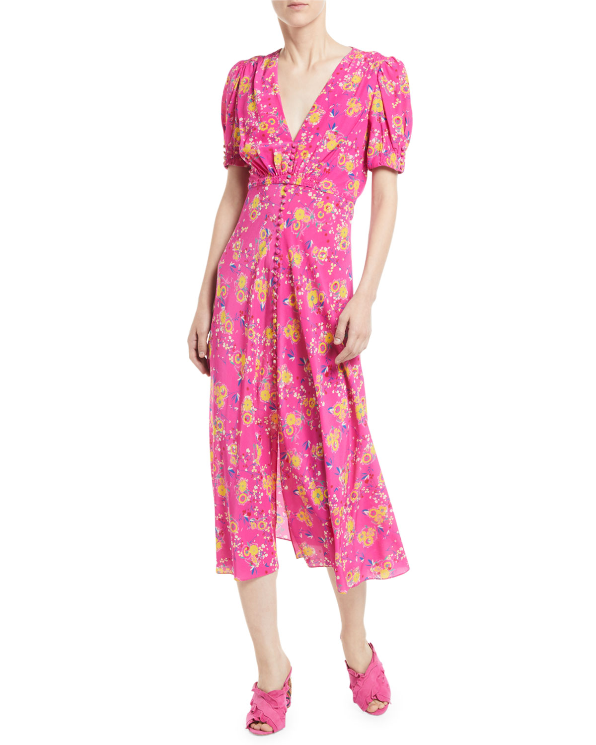 Saloni Paris Lea Floral Button Front Midi Dress