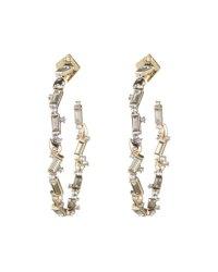 Alexis Bittar Crystal Baguette Hoop Earrings | Neiman Marcus