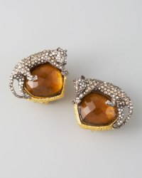 Alexis Bittar Panther Clip Earrings, Amber